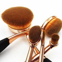 Ten Piece Rose Gold Oval Makeup Brush Set Cosmetic Foundation Cream Powder Blending Brushes