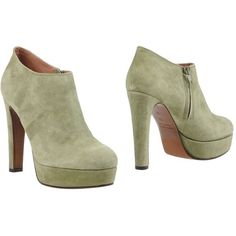 L' Autre Chose Shoe Boots (£199) ❤ liked on Polyvore featuring shoes, boots, ankle booties, military green, olive green boots, zipper booties, round toe boots, real leather boots and zipper boots