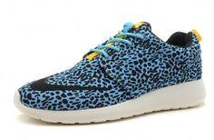 buy popular cbc59 1f704 Homme Chaussures Nike Roshe Run FB Leopard Bleu Pas Cher Prix Acheter