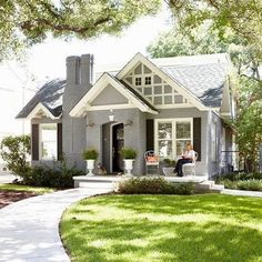 The cutest gray painted brick house! Also this weeks favorite finds are up on B… The cutest gray painted brick house! Also this weeks favorite. Design Exterior, Exterior House Colors, Colonial Exterior, Exterior Shutters, Tudor Exterior Paint, Black Trim Exterior House, 1930s House Exterior, Exterior Shades, Cafe Exterior