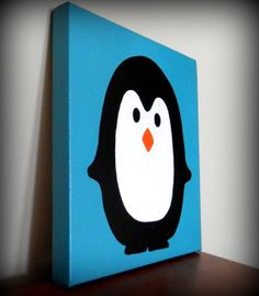 Penny the Penguin Hand Painted Canvas Wall by TwoCraftyBirdies, $20.00