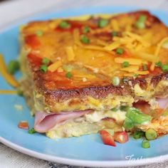 French toast gets a savory twist in this tasty breakfast bake! Made with ham, cheddar, peppers and hot sauce to your liking, breakfast for the family just for a whole lot easier.