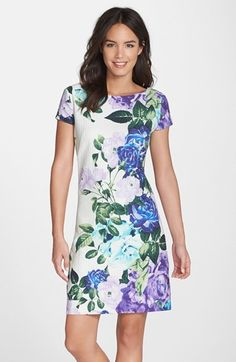 $138, White and Blue Floral Shift Dress: Eliza J Floral Jacquard Cotton Shift Dress. Sold by Nordstrom. Click for more info: https://lookastic.com/women/shop_items/217860/redirect