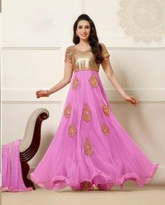 pink embroidered Georgette-net semi-stitched salwar with dupatta