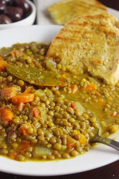 This Mediterranean lentil soup is hearty and delicious with plenty of veggies combined with two unique spices. Find extra tips for the perfect lentil soup. Greek Recipes, Light Recipes, Soup Recipes, Mediterranean Diet Recipes, Mediterranean Soup, Anti Oxidant Foods, Dairy Free Recipes, Vegan Recipes, Heart Healthy Recipes