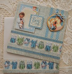 Love this vintage look and the paper dolls clothes are sooo sweet. April 2015 Precious Memories - Little Boys Baby Card with Leanne Pickens Specialty Cards by Aunty Vera Scrap and Craft Baby Scrapbook Pages, Baby Boy Scrapbook, Mini Scrapbook Albums, Scrapbook Sketches, Boy Cards, Kids Cards, Art Deco Cards, Birthday Cards For Boys, Graphic 45