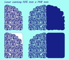 2 variants laser cutting template with pattern of roses. For greeting cards, valentines, wedding invitations. Size 105 mm x 148 mm. Cricut Wedding Invitations, Laser Cut Invitation, Laser Cut Patterns, Vinyl Paper, Pop Up Cards, Print And Cut, Scrapbook Cards, Laser Cutting, Royalty Free Images