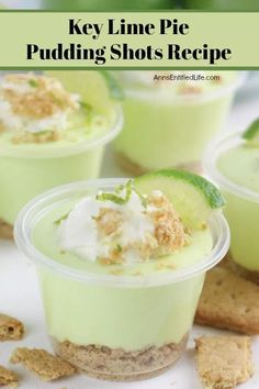 If you like the taste of key lime pie, you will love this adult version of a key lime pie in a pudding shot! Boozy and tangy with a touch of sweet, these key lime pie pudding shots are easy to make and simply delicious. A great pudding shot. Key Lime Jello Shots, Key Lime Pie Shot, Key Lime Pie Martini, Lime Pudding Recipes, Jello Shot Recipes, Alcohol Recipes, Banana Pudding Shots Recipe, Drinks Alcohol, Appetizer Recipes