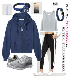"""""""Run like Ryan Gosling is at the finish line."""" by zahabiamankad ❤ liked on Polyvore featuring Saucony, JBL and Fitbit"""