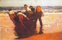 Gallery of pictures by Paul Henry, Irish artist. This page shows Launching the Curragh, a painting by Paul Henry. Irish Landscape, Ireland Landscape, Irish Painters, Oil Painters, West Coast Of Ireland, Irish Art, Art For Art Sake, Beach Art, Travel Posters