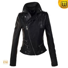 black leather jackets for women | Women Black Cropped Motorcycle Leather Jacket -JACKETS.CWMALLS.COM