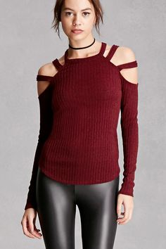 A marled-ribbed knit top featuring a round neckline, an open shoulder design with geo cutouts, and long sleeves. This is an independent brand and not a Forever 21 branded item.