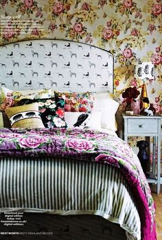 Emily Bond Long Dog covered headboard, in Country Homes & Interiors.