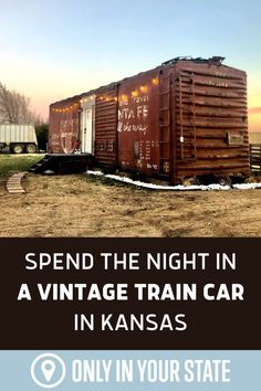 Spend the night in authentic vintage train car at this unique AirBnB location in Kansas. The cozy boxcar offers beautiful farm views and modern amenities like a kitchenette and comfy beds. Surrounded by interesting local attractions, it's a perfect staycation destination. Travel Plan, Travel List, Travel Goals, Travel Ideas, Best Bucket List, Adventure Bucket List, Beautiful Farm, Hidden Beach, Local Attractions