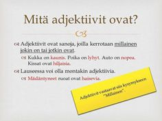 adjektiivit - YouTube Finnish Language, Grammar, Finland, Literature, Classroom, Teaching, Writing, Education, School