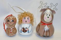 Gourd Tree Ornaments Hand Painted Angel by FromGramsHouse on Etsy