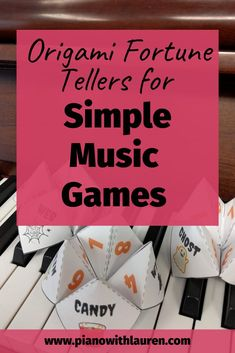 Origami fortune tellers make a great easy game for music students. This is a simple music game that can be played in private or group music lessons. Music Games For Kids, Piano Games, Music Activities, Piano Music, Piano Lessons, Music Lessons, Origami Fortune Teller, Student Crafts, Halloween Music