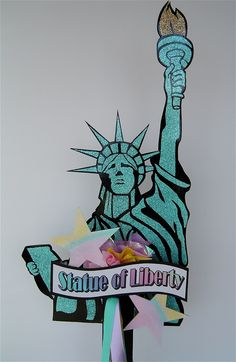 Glittery Statue of Liberty for New York themed party.