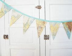 Items similar to FRENCH Vintage World Map Bunting Banner, a repurposed vintage atlas garland, photography prop on Etsy Nursery Themes, Nursery Decor, Travel Bridal Showers, Adventure Nursery, Travel Party, Bunting Banner, Wedding Chairs, Travel Themes, French Vintage