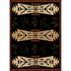 Trade Winds Black Rectangular: 5 Ft. 3-Inch x 7 Ft. 2-Inch  Rug - (In No Image Available)