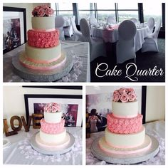 Wedding Cake with moulded light pink roses.  Tailor made wedding cakes designed by Cake Quarter