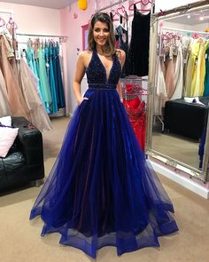 Fashipn A-line Beaded Long Prom Dress Semi Formal Dresses Wedding Party Dress Prom Dresses With Pockets, V Neck Prom Dresses, Blue Evening Dresses, Semi Formal Dresses, Elegant Prom Dresses, Tulle Prom Dress, Cheap Prom Dresses, Event Dresses, Evening Gowns