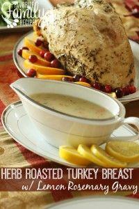 Herb Roasted Turkey Breast with Lemon Rosemary Gravy