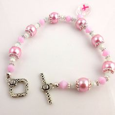Pink Ribbon Bracelet Breast Cancer Awareness Pearl by ramonahall, $30.00