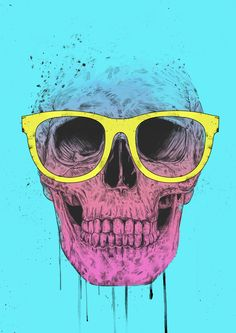 """""""Pop Art Skull With Glasses"""" by Balazs Solti on Artsider - Print available at http://www.artsider.com/works/36309-pop-art-skull-with-glasses"""