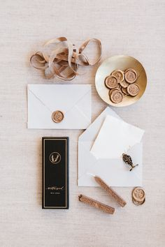 Calligraphy wax seals // silk ribbon // handmade paper // calligraphy and illustration and design by Written Word Calligraphy
