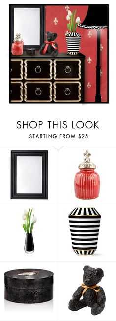 """Red Fleur de Lis with Black Dresser Vignette"" by mimi1207 ❤ liked on Polyvore featuring interior, interiors, interior design, home, home decor, interior decorating, Deknudt Mirrors, LSA International, Fürstenberg and Ginger Brown"