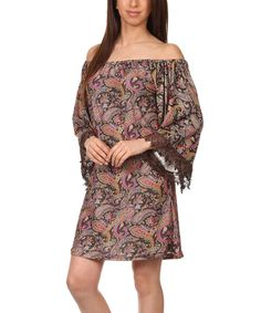 Look what I found on #zulily! Lady's World Pink Lace Paisley Off-Shoulder Dress - Women & Plus by Lady's World #zulilyfinds