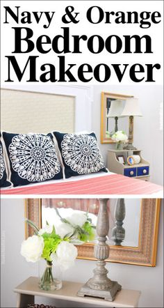 Navy and Orange Guest Bedroom Makeover, including a DIY headboard made from an old fireplace mantel!