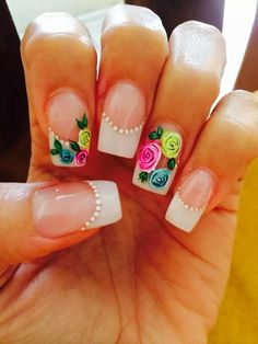 Puntas blancas Super Cute Nails, Great Nails, Cute Nail Art, Fabulous Nails, Nail Polish Art, Gel Nail Art, French Tip Nails, Flower Nail Art, Hot Nails