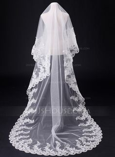 Wedding Veils - $38.99 - One-tier Chapel Bridal Veils With Lace Applique Edge (006031062) http://jjshouse.com/One-Tier-Chapel-Bridal-Veils-With-Lace-Applique-Edge-006031062-g31062