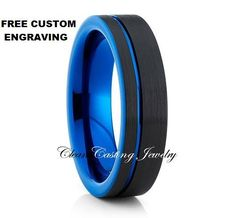 Tungsten Ring Blue Tungsten Band Offset by CleanCastingJewelry
