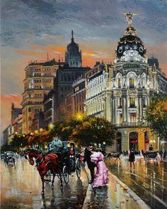 José Monzón Abril - Calle de Alcalá nocturno