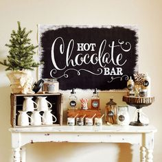A winter wedding calls for a hot chocolate bar, made special with a selection of peppermint and chocolate toppings and extras like caramel drizzle and sea salt.
