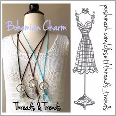 "Bohemian Charm Necklaces On trend bohemian charm Necklaces. Love, Dream, Hope, Trust are engraved around the silver circle. Leather straps with silver hardware and charms. Straps come in mint, black or brown. Total length including charms 17""                Charms include Cross Little monkey Heart Tree of life circle Leave Crystal cylinder Threads & Trends Jewelry Necklaces"