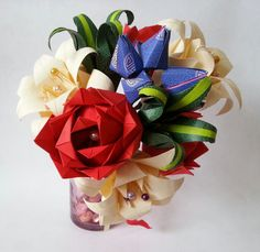 Paper Origami Flowers Wedding Anniversary Bouquet Roses Lilies Custom Made Valentines Day