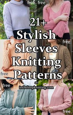 Knitting patterns for pullover and cardigan sweaters and tops with decorative details in the sleeves. Many of the patterns are free Cardigan Pattern, Sweater Knitting Patterns, Free Knitting, Cocoon Cardigan, Cardigan Sweaters, Cardigans, Aran Weight Yarn, Quick Knits, Stockinette