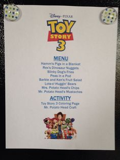 Toy Story 3 Movie Night Menu