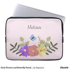 Girly Flowers and Butterfly Pastel Pink Name Laptop Sleeve