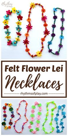 Felt Flower Lei Necklaces – Learn how to make a beaded flower lei with this easy flower lei necklace tutorial! Flower leis made with felt flowers are a great gift idea perfect for graduation, mom or a teacher. They also make fun birthday party favors that Easy Crafts For Kids, Summer Crafts, Toddler Crafts, Diy For Kids, Diy And Crafts, Flower Lei, Flower Crafts, Jewelry Making Tutorials, Simple Gifts