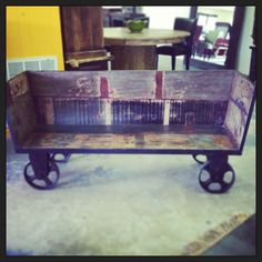 Wheeled Cotton Bin Converted To A Bench For Inside Or Out! Available At The  Green Door Company, Oxford, MS