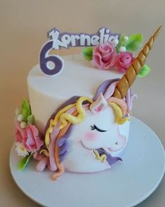 "Find and save images from the ""Cute Unicorn Cakes"" collection by Mercede Lynn on We Heart It, your everyday app to get lost in what you love. Fancy Cakes, Cute Cakes, Beautiful Cakes, Amazing Cakes, Fondant Cakes, Cupcake Cakes, Baby Birthday Cakes, Unicorn Birthday, Little Pony Cake"
