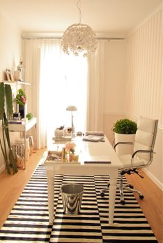 Office with Pale Pink Striped Walls, white furniture and black & white striped rug - Ana Antunes' Home-Styling Showroom