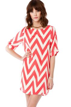 ShopSosie Style : Forever Short Sleeve Zig Zag Shift Dress in Wild Pink