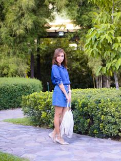 OUTFIT: Double Denim Double Denim, Cebu, Denim Skirt, Street Style, Lifestyle, Skirts, Style Fashion, Flats, Outfits