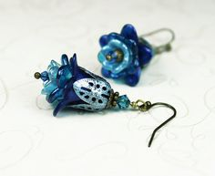 Blue Ombre Hand Dyed Lucite Flower Earrings with by LasSmartArts, $22.00